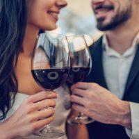 Couple with wine | visit La Jota Vineyards