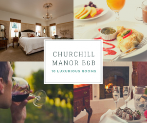 Collage of a Churchill Manor guest room, breakfast, wine and strawberries, person drinking wine