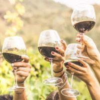 People toasting with glasses of red wine