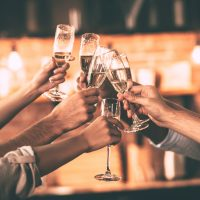 People toasting with champagne