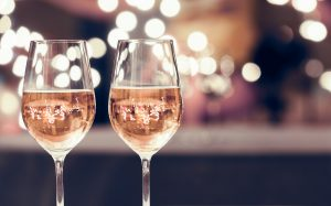 Two Glasses of Sparkling Rose such as Domaine Chandon