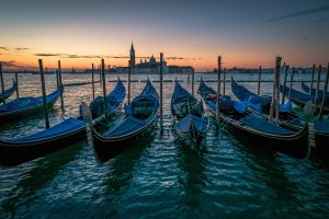 Gondolas at a dock.